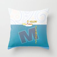 yellow submarine Throw Pillows featuring Yellow Submarine by design.declanhackett