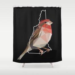 New Hampshire – Purple Finch (Black) Shower Curtain