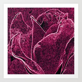 Gothic Rose in Ruby and White Art Print
