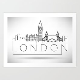 Linear London Skyline Design Art Print