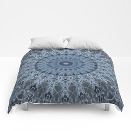 Gray and light blue mandala Comforters