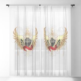 Black shield with golden wings Sheer Curtain