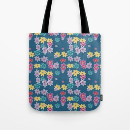 Whimsical Floral Pattern in Blue, Purple, Yellow, Pink Tote Bag