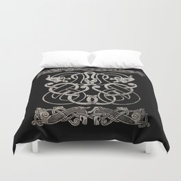 Old norse design - Two Jellinge-style entwined beasts originally carved on a rune stone in Gotland. Duvet Cover
