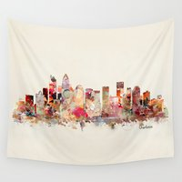 north carolina Wall Tapestries featuring charlotte north carolina skyline by bri.buckley