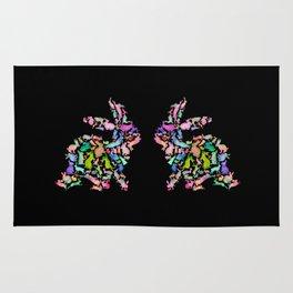 Kissing Watercolor Bunnies Rug