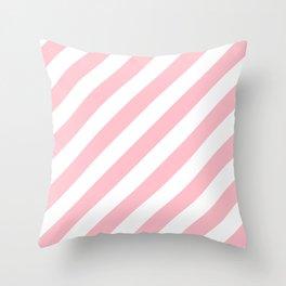 Diagonal Stripes (Pink/White) Throw Pillow