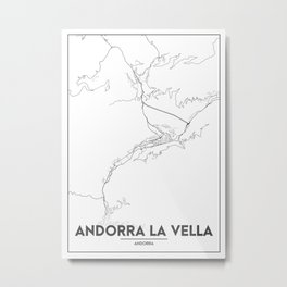 Minimal City Maps - Map Of Andorra La Vella, Andorra. Metal Print