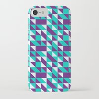 spires iPhone & iPod Cases featuring PURPLE TURQUOISE SPIRES  by Oksana Smith