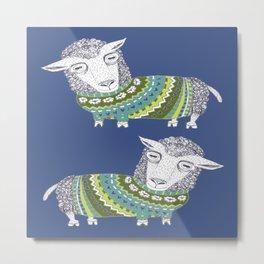 Sheep wearing Fair Isle knitted sweater Metal Print