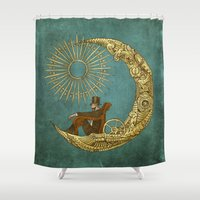 marina Shower Curtains featuring Moon Travel by Eric Fan