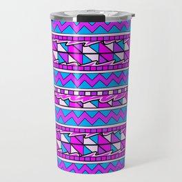 Latin American Pattern Pink Purple Blue. Funky Art. Colourful Pattern Travel Mug