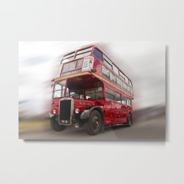 Old Red London Bus Vintage transport Metal Print