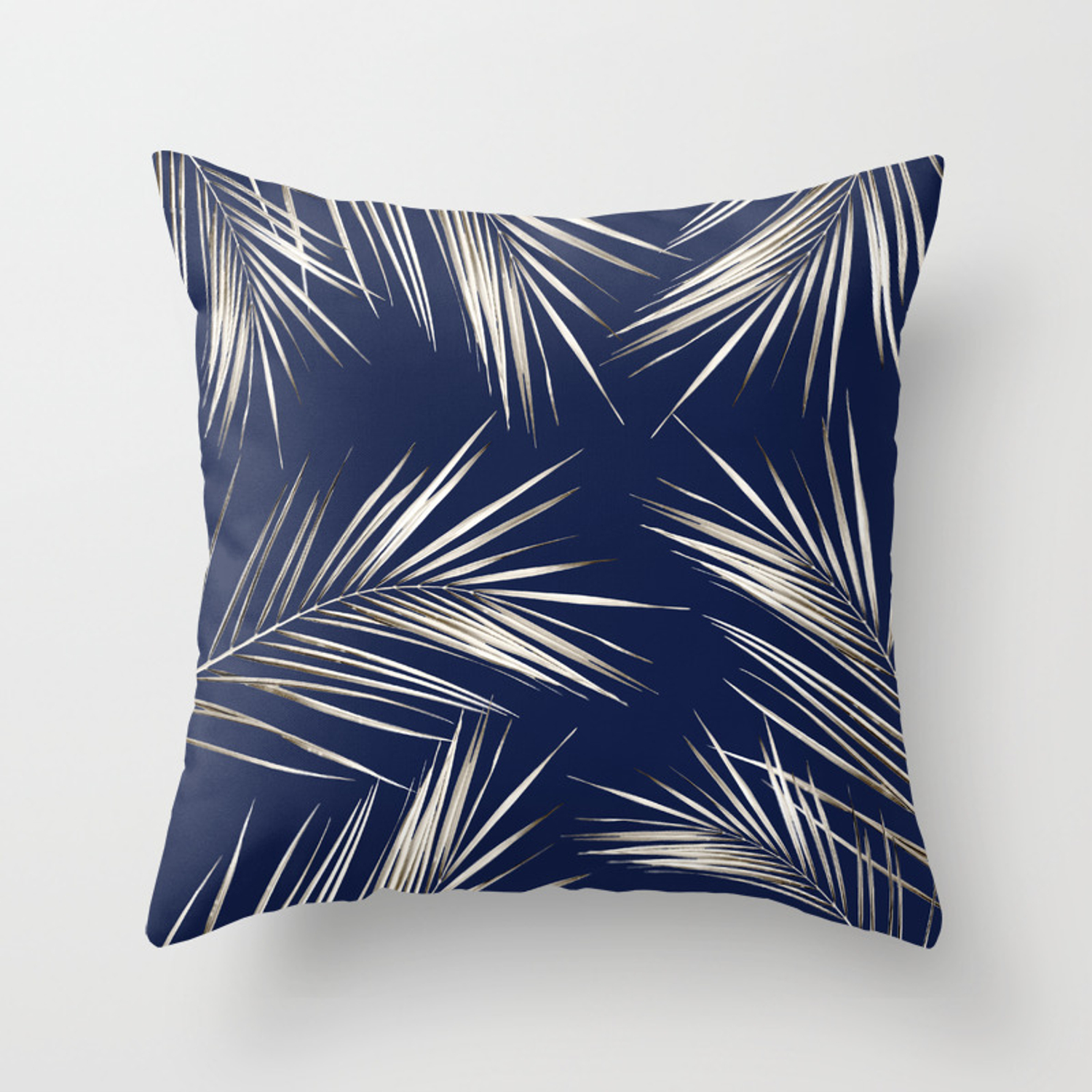 White Gold Palm Leaves On Navy Blue Throw Pillow By