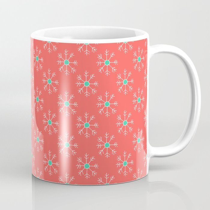 Orange and Teal Snowflakes Coffee Mug