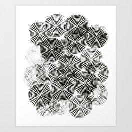 Radial Block Print in Black and White Art Print