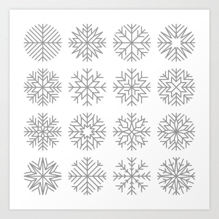 minimalist snow flakes Art Print