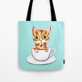 Striped coffee cat Tote Bag