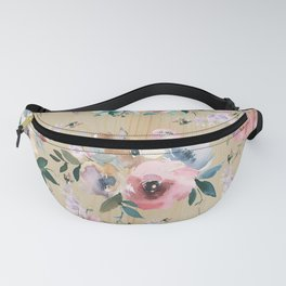 Pastel pink teal green watercolor pine wood floral Fanny Pack