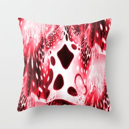 Red Circles, Drops and Drips Throw Pillow
