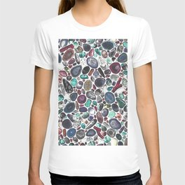 MIXED GEMSTONES ON WHITE T-shirt