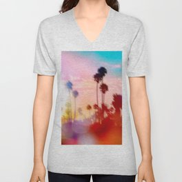 palm tree with sunset sky and light bokeh abstract background Unisex V-Neck