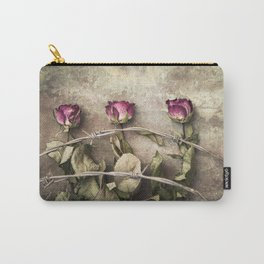 Three dried roses and barbed wire Carry-All Pouch