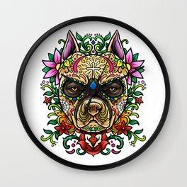 Pitbull Sugar Skull - Dias De Los Muertos Wall Clock