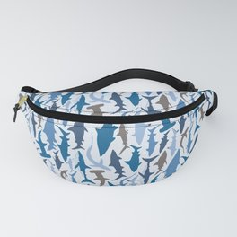 Swimming with Sharks in Blue and Grey Fanny Pack