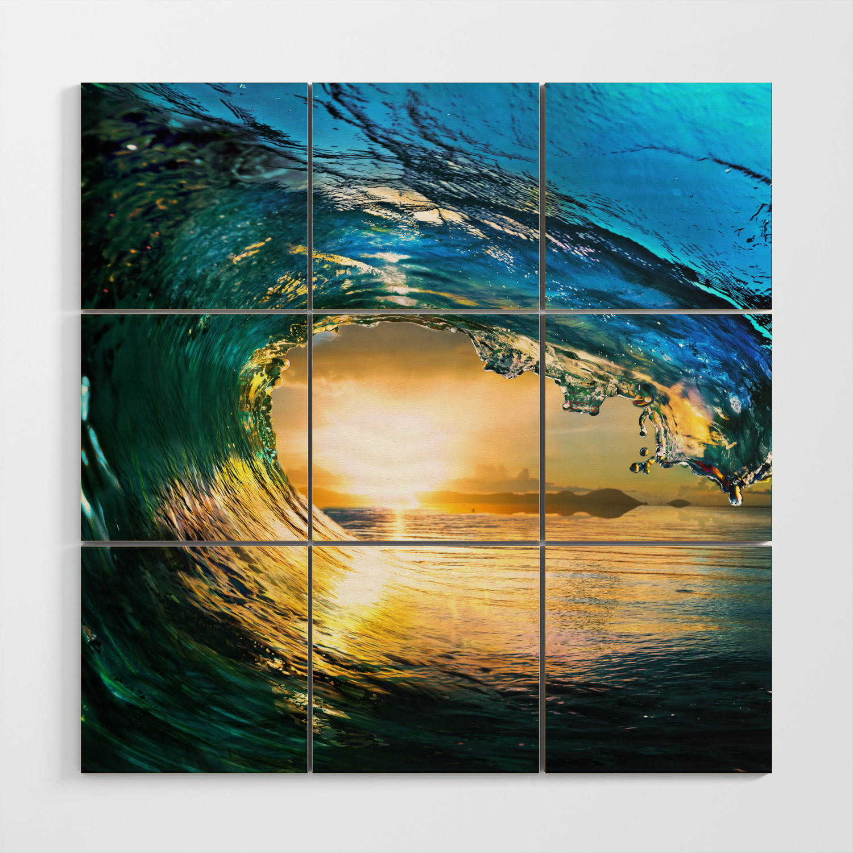 Glowing Wave Wood Wall Art By Rosemarya