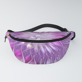 Pink Flower Passion, Abstract Fractal Art Fanny Pack