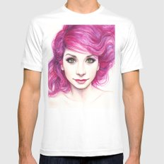 Pink Hair Girl Mens Fitted Tee White MEDIUM