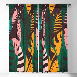 Vintage Tropical Leaf Pattern Blackout Curtain