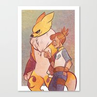 digimon Canvas Prints featuring Digimon - Ruki & Rena by frolis