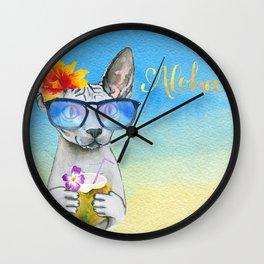 Aloha Cat // sphynx cat on holiday at the beach Wall Clock