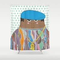 biggie smalls Shower Curtains featuring Biggie by Late Greats by Chen Reichert