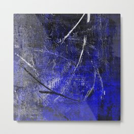 In The Dead Of Night - Textured Abstract In Blue, Black and White Metal Print