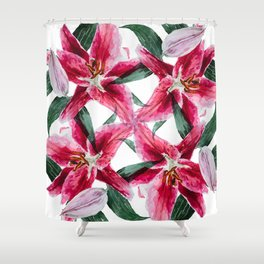 4 pink lilies Shower Curtain
