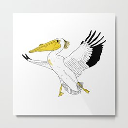 Petra the Pelican Metal Print