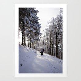 Sunny snow hike Art Print