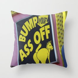 Bump Your Ass Off, Donkey Sign, Coney Island, Brooklyn, New York Throw Pillow
