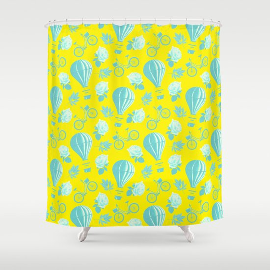 Yellow And Blue Balloons And Bicycles Shower Curtain By