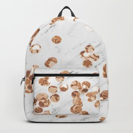 Rose gold crystals - white marble Backpack
