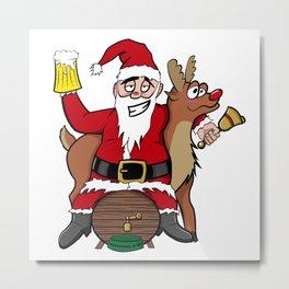 Drunken Santa Color Metal Print