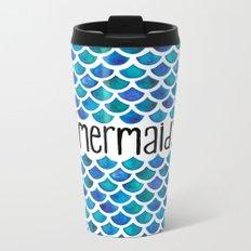 Mermaid Scales in Blue Metal Travel Mug