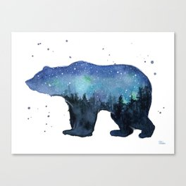 Forest Bear Silhouette Watercolor Galaxy Canvas Print