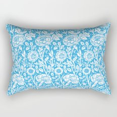 "William Morris Floral Pattern | ""Pink and Rose"" in Turquoise Blue and White Rectangular Pillow"