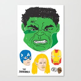 Hulk, Cap, Thor, Iron Man and Fury Canvas Print