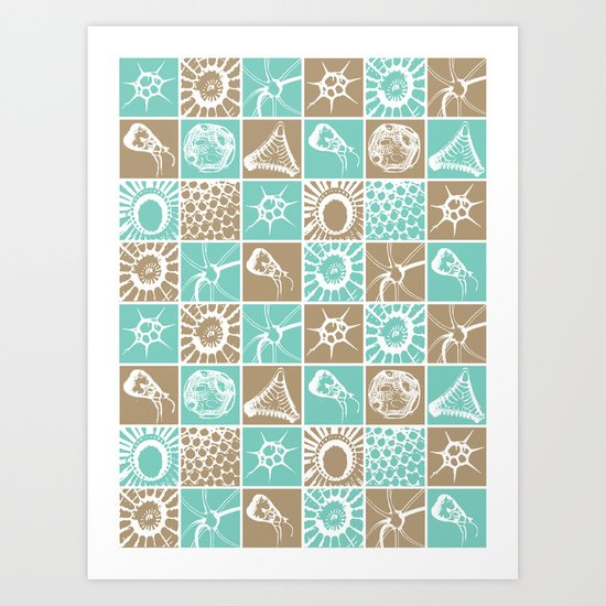 Microscopic Life Sillouetts Blue and Taupe Art Print