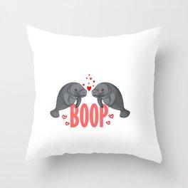Cute Manatee Kiss Boop Florida Sea Cow Girl Gift Throw Pillow